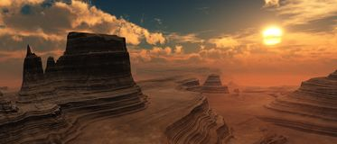 Sunset over the canyon. Stock Image