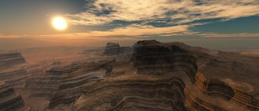 Sunset over the canyon. Stock Photos