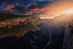 Sunset over the canyon. Verdon canyon near Castellane in Provence Royalty Free Stock Photos