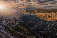 Sunset over the canyon. Verdon canyon near Castellane in Provence Royalty Free Stock Image