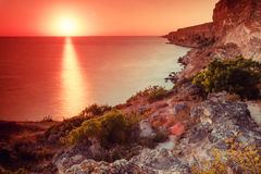 Sunset over cape Fiolent stock photos