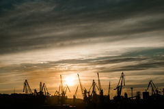 Sunset over cargo port. Urbanization Stock Image
