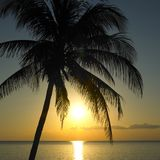 Sunset over Caribbean Sea. Maria la Gorda, Pinar del R�o Province, Cuba Stock Photos