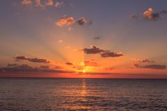 Sunset over the Caribbean sea royalty free stock image