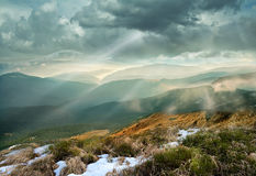 Sunset over Carpathians ridges Royalty Free Stock Photography