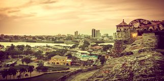 Sunset over Cartagena in Colombia royalty free stock image