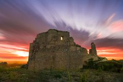 Sunset over the castle royalty free stock photography