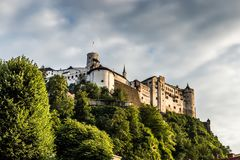 Castle of Salzburg, Austria. Sunset over castle of Salzburg, Austria Stock Photos
