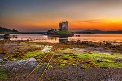 Sunset over Castle Stalker,  Scotland, United Kingdom Stock Image