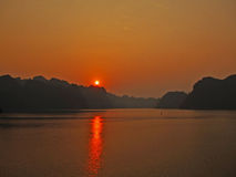 Sunset over Cat Ba island Stock Image