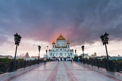 Sunset over Cathedral of Christ the Saviuor Royalty Free Stock Images