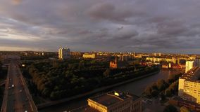 Sunset over the Cathedral. Of Kaliningrad, top view stock video