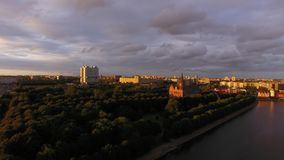 Sunset over the Cathedral. Of Kaliningrad, top view stock footage