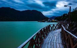 Sunset over the catwalks of Caleta Tortel. Photograph of the night landscape of Caleta Tortel, from its cypress walkways of the Guitecas of Caleta Tortel royalty free stock image
