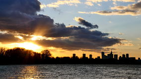 Sunset over the center of Warsaw, Poland stock footage