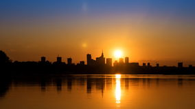 Sunset over the center of Warsaw. Timelapse stock footage
