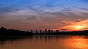 Sunset over the center of Warsaw. Timelapse stock video footage