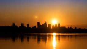 Sunset over the center of Warsaw. Timelapse,  zoom in stock footage