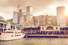 Sunset Over Central Pier in Hong Kong royalty free stock photos
