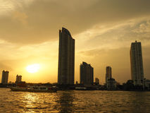 Sunset Over the Chao Phraya River in Bangkok Royalty Free Stock Photography