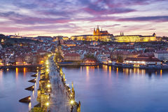 Sunset over Charles Bridge and Prague Castle Royalty Free Stock Photography