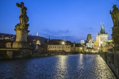 Sunset over Charles Bridge and Prague Castle stock images