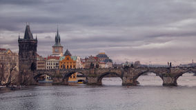 Sunset over the Charles Bridge in Prague Stock Photos