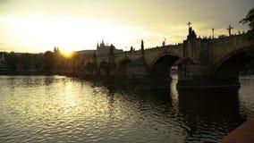 Sunset in Prague. Timelapse stock footage