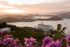 Sunset over Charlotte Amalie St Thomas Stock Photo