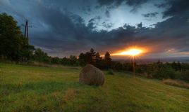 Sunset over charming countryside Royalty Free Stock Image