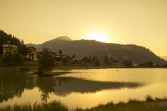 Sunset over Chatel village, Royalty Free Stock Photos