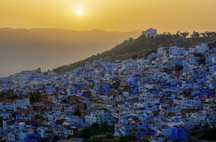 Sunset over Chefchaouen in Morocco, HDR image. Royalty Free Stock Image