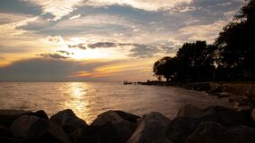 Sunset over Chesapeake bay time lapse video