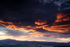 Sunset over the Cheviot Hills Stock Photography