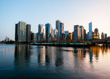 Sunset over Chicago from Navy Pier Stock Images