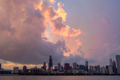 Sunset over Chicago skyline Stock Images
