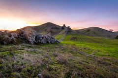 Sunset over the China Wall. The sun sets over the China Wall in the Diablo Foothills of Contra Costa County, California stock photo