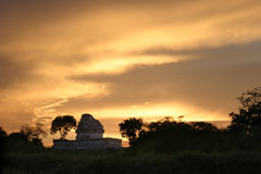 Sunset over Chitzen-itsa. Mexican ruins at sunset Stock Photography