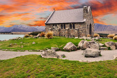 Sunset over the church of the good shepherd on Lake Tekapo - New Royalty Free Stock Photography