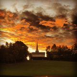 Sunset. Over a church in rathfarnham dublin ireland Royalty Free Stock Images