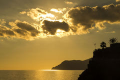 Sunset over Cinque Terre, Northern Italy, Royalty Free Stock Photography