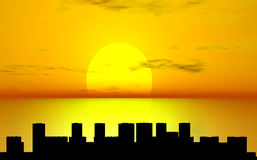 Sunset over city. Sunset over sea and city silhouette Vector Illustration