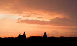 Sunset over of city Royalty Free Stock Images