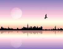 Sunset over city. Panoramic view of a city over sunset background Royalty Free Stock Photography