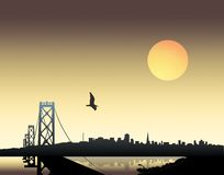 Sunset over city. Panoramic view of a city over sunset background Royalty Free Stock Photos