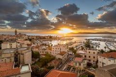 Sunset over city of Alghero on west coast of Sardinia Royalty Free Stock Photography