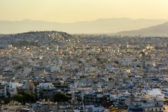 Sunset over the city, Athens, Greece royalty free stock image