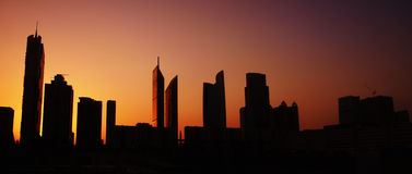 Sunset over city. Awesome sunset over modern city Royalty Free Stock Image