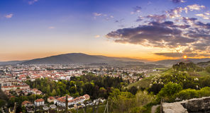 Sunset over the city. A beautiful, orange sunset over the city of Maribor Royalty Free Stock Images