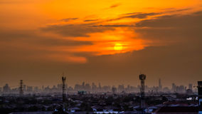 Sunset over the city , beautiful view Royalty Free Stock Image